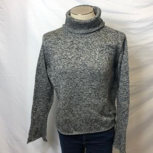 Charcoal & white bell sleeve turtleneck sweater